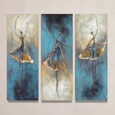 Wieco Art - Dancing Girls Modern Hand Painted Oil Painting Canvas Art Work for Wall Decor Home Decoration, Stretched and Framed Artwork, 3 Panels Abstract Oil Paintings on Canvas Wall Art Ready to Hang for Wall Decorations Home Decor 3 Piece Canvas Art, 3 Piece Wall Art, Abstract Canvas Wall Art, Acrylic Art, Wall Canvas, Abstract Oil, Canvas Art For Sale, Modern Canvas Art, Hand Painting Art