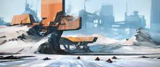 north by polosatkin | Digital Art / Drawings & Paintings / Sci-Fi | Futuristic Concept Architecture Military Base Snow Arctic