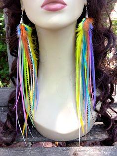 Feather Earrings Spring Rainbow Very Long Bright door PrettyVagrant, $43.00
