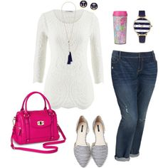 a combination of nautical and feminine. the lace top is on trend, and the bright pink accessories play well with the navy nautical pieces. plus size