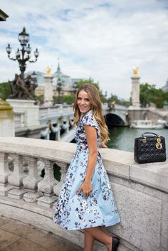 Wearing Lela Rose in Paris