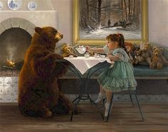 My Tea Bear art print by Lynn Lupetti Art D'ours, Tee Kunst, Tea Art, Gif Animé, My Tea, Children's Book Illustration, Whimsical Art, Tea Time, Fantasy Art