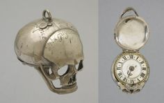 J C Vuolf, Skull watch, 1655-65 (source). The watch has 4 inscriptions engraved on the skull: 'vita fugitur' (life is fleeting); 'caduca despice' (look down upon a fallen thing); 'aesterna respice' (look upon eternity); and an hour glass flanked by the words 'incerta hora' (the hour [of death] is uncertain).