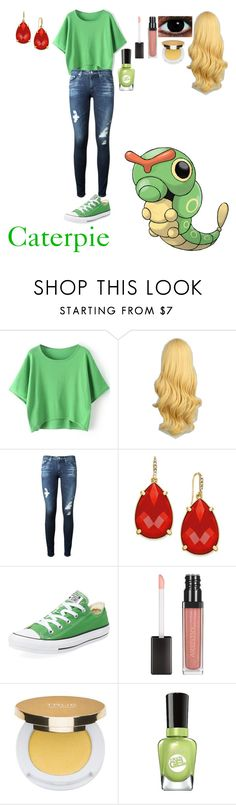 """""""Caterpie #010"""" by mysterious-emo-girl ❤ liked on Polyvore featuring AG Adriano Goldschmied, ABS by Allen Schwartz, Converse, Isaac Mizrahi and Sally Hansen"""