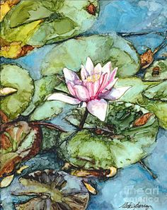 Lily Painting - Pond Lily Bloom by Vicki Baun Barry Lily Painting, Flower Painting Canvas, Oil Painting Flowers, Watercolor Flowers, Watercolor Art, Alcohol Ink Painting, Alcohol Ink Art, Lily Bloom, Thing 1