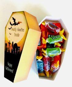 Halloween Coffin Treat Box Scary Cat - Halloween Party Favor- Halloween Treat Box - Printable Favor - Instant Download