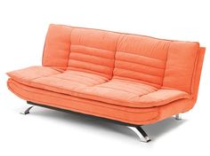 "Item Name:    Calam Futon  SKU:    M18 CALAM/150  Dimensions:    77.0"" W x 35"" D x 38"" H  Price:    $399.00    Add to Wish List    Print Page    Add a splash of color and comfort with our new Calam futon. With adjustable back and metal legs. In velvety soft orange or brown fabric. 100% Polyester, Great in the living room, the guest room and the college dorm."