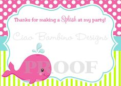 DIY PRINTABLE Whale of a Party Thank You Card for by ciaobambino, $8.00