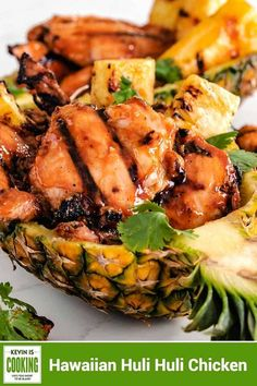 This amazing Hawaiian Huli Huli Chicken has the most lip smacking good marinade and gets smoked on the grill over mesquite to a sticky sweet goodness. #hulihuli #grilled #chicken Duck Recipes, Meat Recipes, Appetizer Recipes, Salad Recipes, Dinner Recipes, Turkey Recipes, Korean Recipes, Party Recipes, Italian Recipes