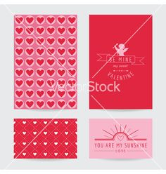 Valentines day card set vector by woodhouse84 on VectorStock®