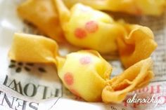 "You can make even with toaster】 Dumplings · Spring roll skin ""Candy knob"" is easy cute! Bento Recipes, Dessert Recipes, Cooking Recipes, Food Art Bento, Onigirazu, Appetizer Salads, Xmas Food, Food Decoration, Unique Recipes"