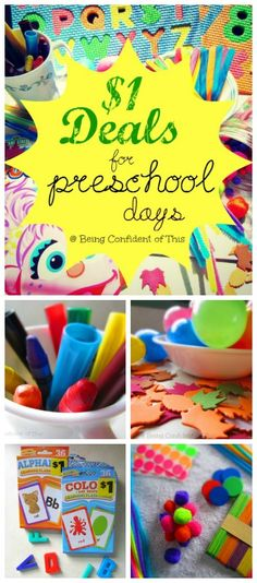 Looking for inexpensive materials for preschool,daycare, or homeschool? This huge list tells you not only what to buy at the dollar store, but also how to use those dollar store items effectively to teach toddler/preschool age children and even kindergartners.  Great for parents, teachers, homeschoolers, daycare providers, etc.  from Being Confident of This