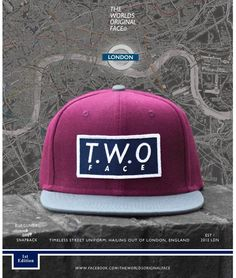 The Worlds Original Face TWO Face London1st edition burgundy grey snapback capBox logo with green undersidesupreme quality only perfect condition