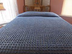 VINTAGE MORGAN JONES BLUE POPCORN FRINGED COTTON CHENILLE BEDSPREAD
