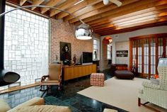 Beautiful loft with glass block and rafters