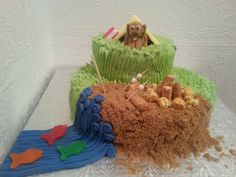 Camping Cake with Fondant Dog and tent with campfire on beach For more, visit facebook.com/deelisses