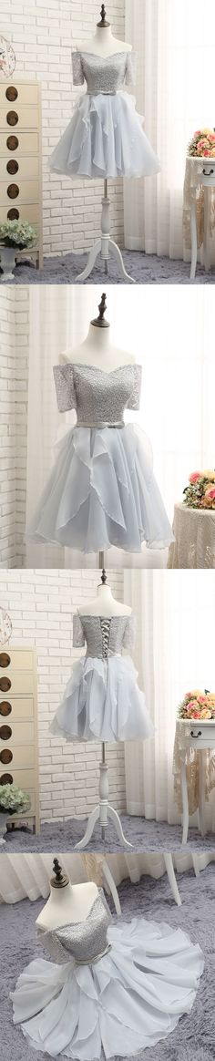 Little Cute | Cute gray lace short prom dress, homecoming dresses | Online Store Powered by Storenvy