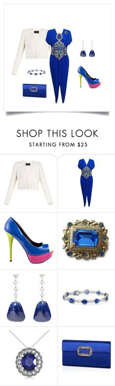 """""""Party Time Dress"""" by mkdetail ❤ liked on Polyvore featuring BCBGMAXAZRIA, Naeem Khan, Veda Soul, CORO, Blue Nile, Allurez and Roger Vivier"""