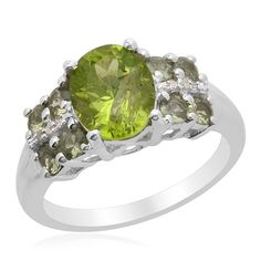 Liquidation Channel | Hebei Peridot, Green Sapphire, and Diamond Ring in Platinum Overlay Sterling Silver (Nickel Free)