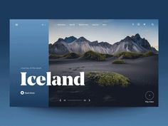 """Daily UI """"Iceland Issue"""" designed by ★ ɢıuʟiø cuƨcitø ★. Connect with them on Dribbble; the global community for designers and creative professionals. Graphisches Design, Web Ui Design, Layout Design, Portfolio Web Design, Travel Website Design, Website Header Design, Web Design Websites, Design Creation, Affinity Designer"""