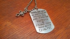 Hand stamped personalized dog tag necklace by ByalittlebitofFaith, $27.00 Father's Day Gift