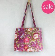 Lilac Floral Velvet Tote Bag (large)