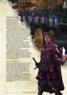 DnD Homebrew — Spellblade Class by Ricodyn Dungeons And Dragons Classes, Dungeons And Dragons Homebrew, Fantasy Rpg, Fantasy World, Writing Fantasy, Fantasy Heroes, Fantasy Story, Dnd Characters, Fantasy Characters