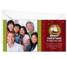 Photo Cards : Santa Christmas Holiday Photo Card Template