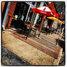 Street Scene Sidewalk Cafe Umbrellas Deep Ellum Dallas Texas