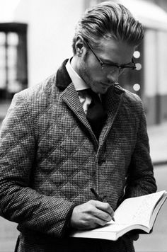 Nice take on the classic Barber quilted. Be aware of how your hair adds to or detracts from the outfit you're wearing. The whole look works here very well.