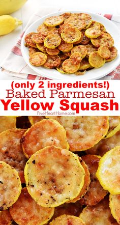 SO YUMMY Baked Parmesan Yellow Squash Rounds 2 ingredients Baked Parmesan Yellow Squash Roundsan easy and delicious squash recipe requiring just two ingredients yellow sq. Healthy Recipes, Vegetable Recipes, New Recipes, Vegetarian Recipes, Cooking Recipes, Favorite Recipes, Baked Yellow Squash, Summer Squash Recipes, Yellow Zucchini Recipes