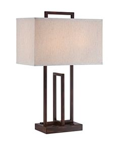 Lite Source Farren Table Lamp, Dark Bronze/Off-White