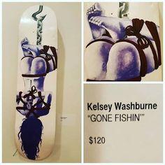 """Kelsey Washburne """"Gone Fishing"""" Original Art Skateboard Deck"""