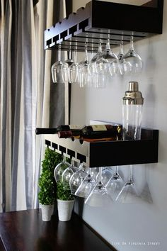 Dark wood wine rack and Restoration Hardware Slate Paint--pinned for wine racks (Costco!) #WineRack
