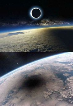 What a total lunar eclipse looks like from space.