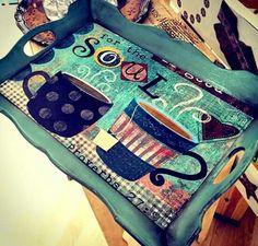 tepsi Painting On Wood, Lunch Box, Printables, Serving Trays, Crafts, Diy, Vintage, Hobbies, Wood