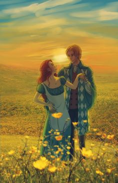 Among the flowers - Howl and Sophie by ~Lyndelou on deviantART