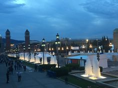 Plaça d'Espanya is one of Barcelona's biggest squares. The fountain in the center was designed by Josep Maria Jujol, a collaborator of Gaudí. The Venetian Towers lead the way into the National Museum of Art of Catalunya. The Arenas de Barcelona was historically a bullring built in 1900 in the Moorish Revival style, and has been converted into a shopping center. For 1€ you can ride the elevator to the top of the Arenas for an exceptional panoramic view of Barcelona and the Plaça.
