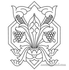 Free Hand Embroidery Pattern - stylized acanthus / grapes medallion. Click through for the free PDF printable!