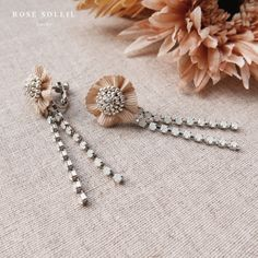 Rose Soleil Jewelry Blossom Wind Collection   スワロフスキークリスタルとリボンイアリング How To Make Beads, Spring Collection, Rose, Bobby Pins, Hair Accessories, Beauty, Jewelry, Tejidos, Needlepoint