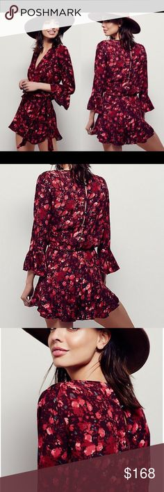 FREE PEOPLE  floral romper Floral printed romper. Buttons down the back and wrapped front. 3/4 sleeve. Popular FREE PEOPLE romper style in a sold out print! 281157    Retail: $128 Sizes: XS, S, M, L   ❤I have over 300 new with tag Free People items for sale! I love to offer bundle discounts! ❤No trades. love the item but not the price? Submit an offer! Free People Pants Jumpsuits & Rompers
