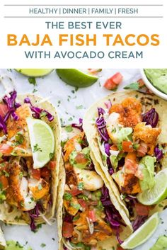 The Best Baja Fish Tacos loaded with cilantro lime slaw, zesty Avocado Crema and fresh Pico de Gallo! These fish tacos are pan seared with a blackening spice, no frying or batter required! The perfect healthy dinner recipe everyone in your family will love! #easyfishtacos #cabbageslaw #saucerecipe #glutenfreerecipes Baja Style Fish Tacos Recipe, Best Fish Taco Recipe, Cod Fish Tacos, Healthy Weeknight Meals, Easy Healthy Recipes, Healthy Options, Clean Eating Recipes, Healthy Eating, Crab Appetizer