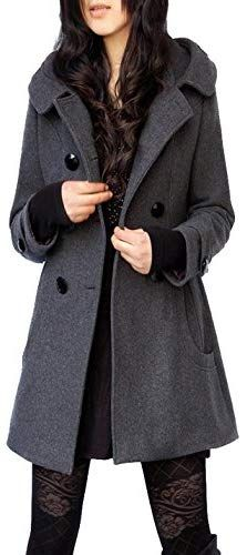 8e72717b0 Chic Tanming Women s Winter Double Breasted Wool Blend Long Pea Coat with  Hood online.