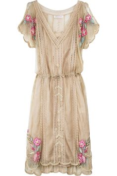 Tea stain lace dress with pearl bead trim and pink rose embroidery. V-neckline, blouson bodice, drawstring waist, and slit sleeves. By Matthew Williamson.