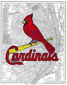 Printed on an 1895 St. Louis street map. St. Louis Cardinals: