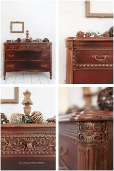 Today I'm sharing a holiday dresser. I'm and my favorite resource to thousands of Painted Furniture Ideas - aside from the of course! Gold Painted Furniture, Find Furniture, Refurbished Furniture, Furniture Making, Furniture Ideas, Vintage Bedroom Sets, Painted Chest, Dixie Belle Paint, Vintage Dressers