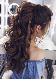 Hairstyles For School Teens Updo Round Faces 39 Ideas 10 quick and easy back to school hairstyles for girls, high school teens and col. 48 Ideas Hairstyles For School Teens Winter Casual Prom Hairstyles For Long Hair, Wedding Hairstyles For Long Hair, Long Curly Hair, Wedding Hair And Makeup, Hairstyles For School, Down Hairstyles, Hairstyle Wedding, Hairstyle Short, Bridal Hairstyles