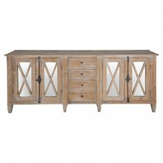 Expecting stock early August This lovely long sideboard is made of eco-friendly reclaimed pine treated with a grey wash finish. The four doors of the sideboard have X-shaped detailing over the mirrors. Grey Wash, Eco Friendly, Trade Secret, Cabinet, Dining, Storage, Wood, Study, Studio