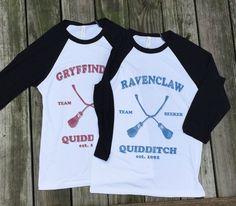 Harry Potter Hogwarts Quidditch Team Seeker House shirts - Baseball ringer tee - Slytherin Gryffindor Hufflepuff Ravenclaw - CHOOSE YOUR HOUSE