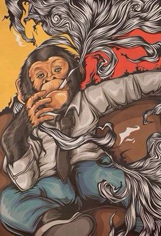 Smoking chimp.